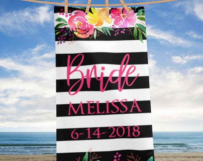 Personalized Beach Wedding | Custom Name Bride Beach Towel | Bride to be Towel | Customized beach Towel | Floral Wedding Towels | Bride Gift