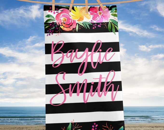 Custom Name Personalized Beach Towel, Elgant Floral Beach Towel Black and White Stripes with Flowers HUGE Beach Towel,  monogram beach towel