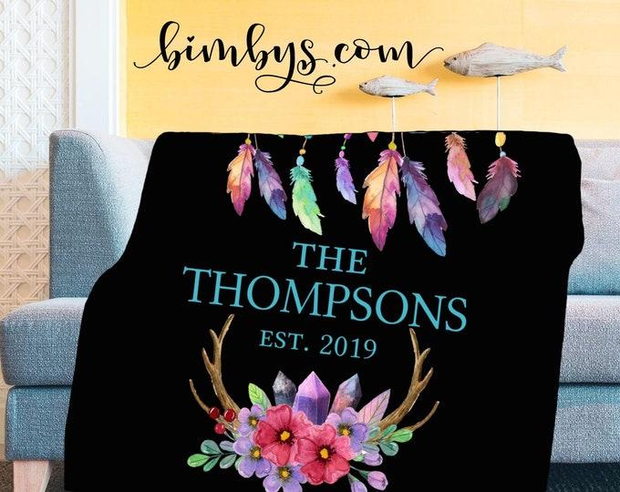Custom Personalized Wedding Gift Idea Sherpa or Minky Blankets - Boho style custom blankets for the family   Choose Blanket or Beach Towel