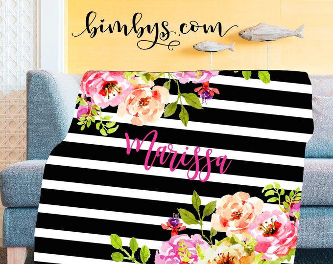 Floral Baby Blanket | Personalized Baby Blanket | Name Baby Blanket | Watercolor Floral Baby Blanket | Black and White Stripes Throw Blanket