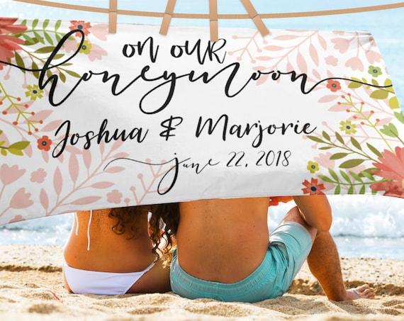 Wedding Beach Towel, Honeymoon Mr. and Mrs. Custom Beach Towel, Huge Personalized beach towels, His and Her Towels, Custom Name Towels