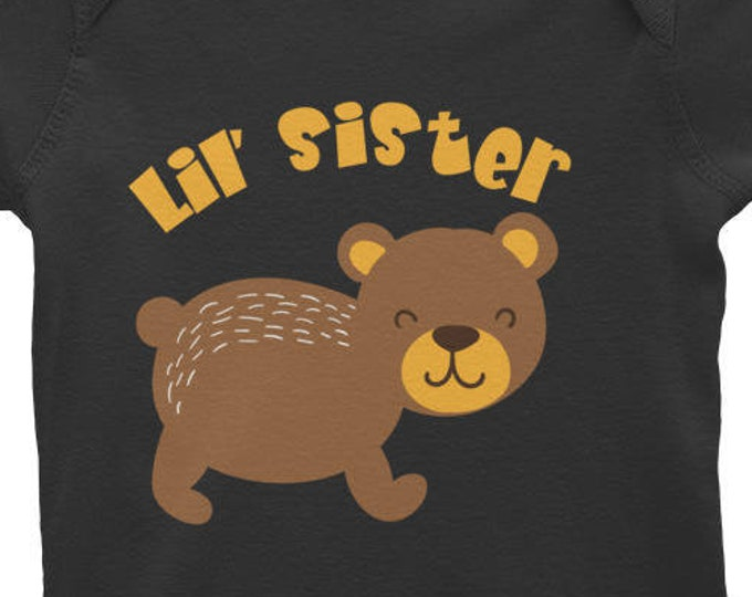 Little Sister Infant Long Sleeve Bodysuit, Baby Girl Coming Home Outfit, Little Sister, little sister infant bodysuit, Littel Sister Tops