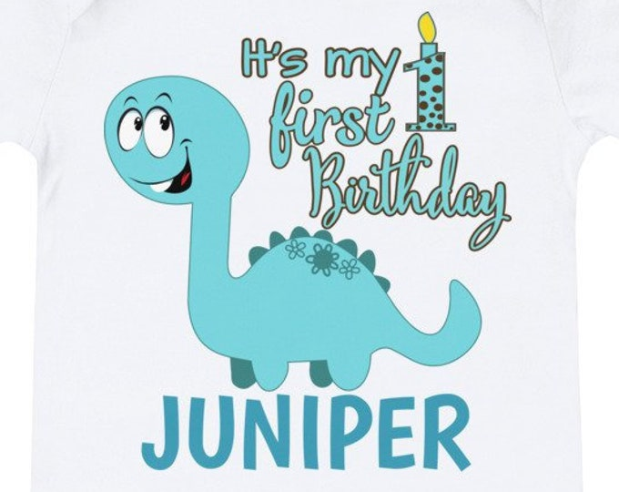 First Birthday Custom Name Dino Bodysuit | first birthday | 1st birthday outfit | 1st birthday shirt | first birthday shirt, birthday outfit