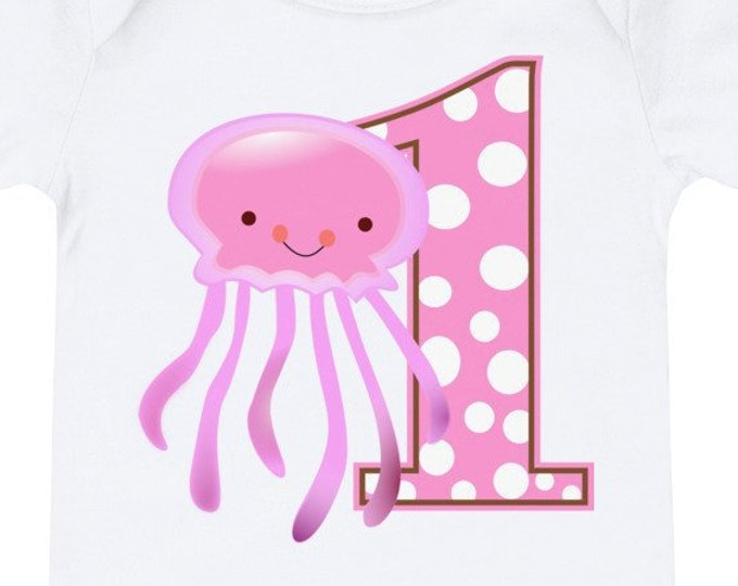 1st Birthday Pink Squid T-Shirt Bodysuit | 1st birthday outfit, 1st birthday girl | first birthday shirt, first birthday, 1st birthday shirt
