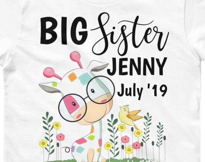 Personalized Big Sister Announcement T-Shirt - Big Sister Gift - Customized Sleeper - Custom Bodysuit - Promoted to Big Sister