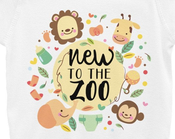 New to the Zoo - Safari Animals Infant Bodysuit, Cute Animals baby Onepiece, Custom Baby Outfit, Personalized Baby Tee
