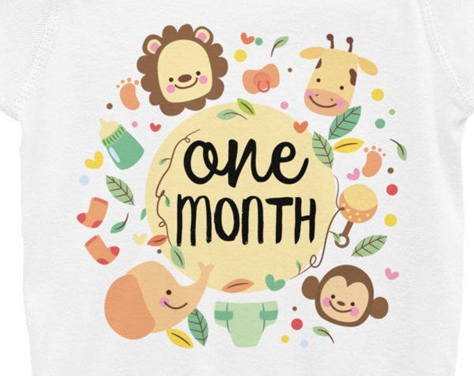 One Month Cute Milestone Nappy Infant Bodysuit, Jungle Safari Animals Milestones Nappy, Cute Onsies, Cute Baby Clothes, Cute Baby Shirts