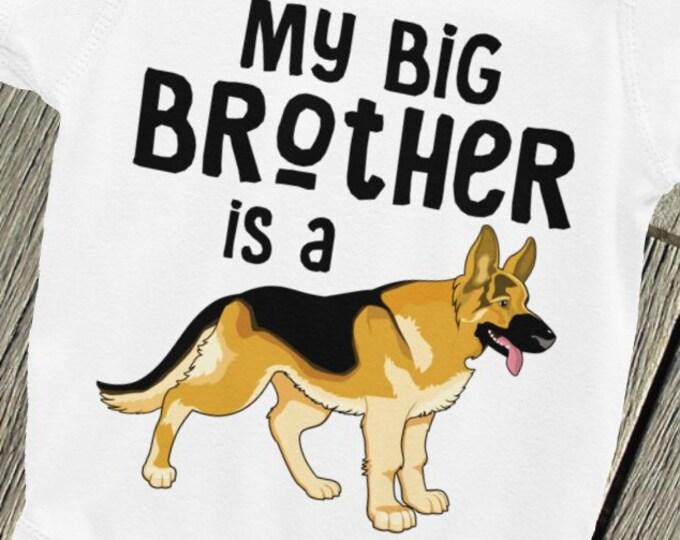 SALE!Brother Nappy My Big Brother is a German Shepherd Infant Bodysuit Onsie | Big Brother Nappy | Cute baby Bodysuits | Sibling Shirt Onsie