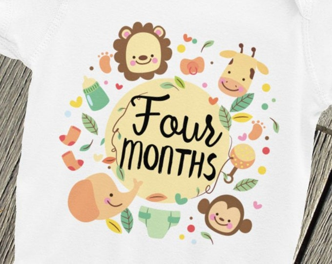 Milestone Baby Shirts - Milestone Bodysuits -Monthly snapsuits -Four Months Baby - Photo Props ONsie - Baby milestone - monthly shirt