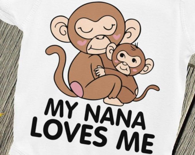 Nana Loves Me, creepers, diaper shirts, babygro, babygrow, snapsuits,I Love Nana, Nana Nappy, Mimi Nappy, Nana Baby Onsie, Gigi Onsie,