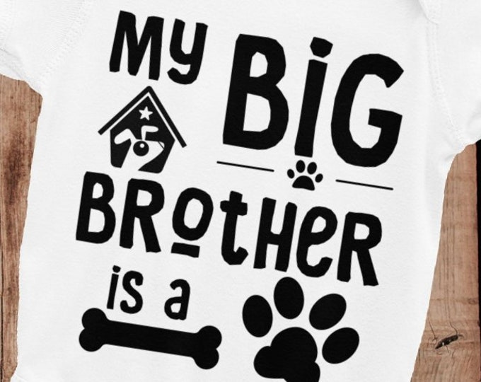 SALE!ON SALE!Big Brother Baby Bodysuit | Dog Big Brother Baby Nappy |  Big brother shirt | little brother shirt |  brother announcement