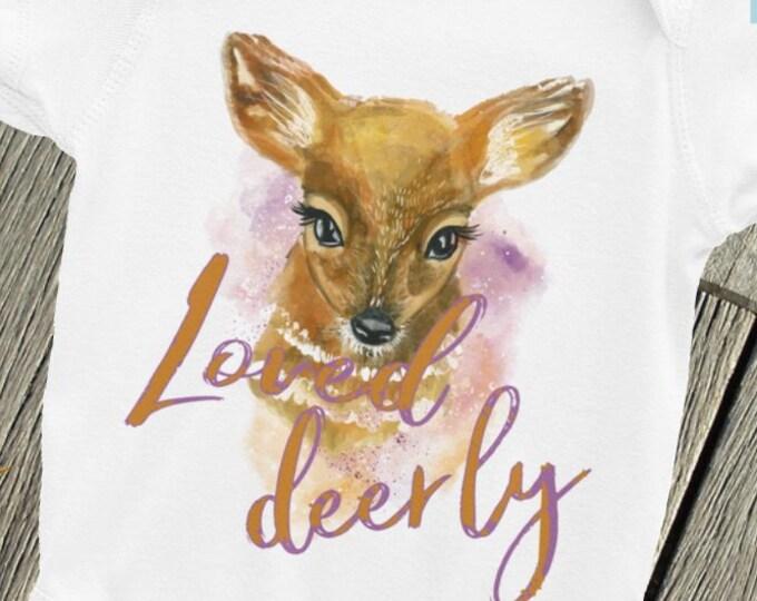 SALE!Loved deer-ly baby  ONSIE ,Boho Bodysuit,  Baby Nappy, Deer snapsuit, Oh deer Onsie, Woodland Onsie, Hunting Onsie, Woodland Deer, Cute