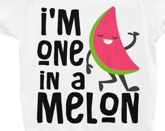 Cute baby shirts, watermelon shirt, watermelon outfit, watermelon baby, watermelon shirt, food sleepsuit, One in a Melon baby Bodysuit