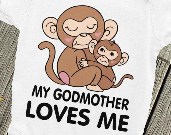 My Godmother LOVES me Baby ONSIE  , Godmother Bodysuit, Goddaughter snapsuit, Godson shirt, Godmother bodysuit, Baptism sleepsuit, Godchild