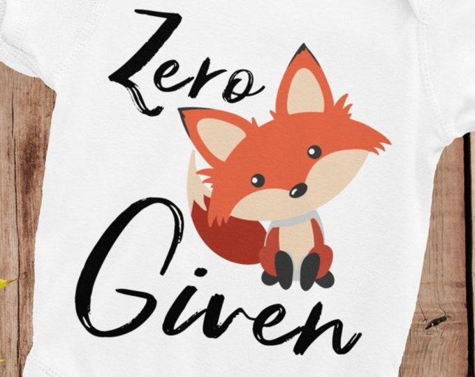 Zero Fox Given, Cute Fox Bodysuit, Baby Nappy, funny baby shirt, pretty snapsuit, baby body suit, baby bodysuit, new born baby, Baby Fox