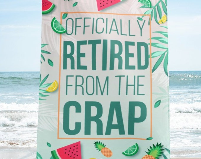 Featured listing image: Retirement Gift Idea, Funny Retirement Beach Towel | Retirement Gift | Gift for Retirement | Retirement Props | Fun Retirement Gift