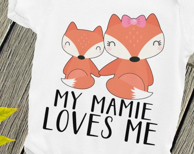 Baby Nappy ,- My Mamie Loves me, Custom Baby Bodysuit, my aunt loves me, i love my aunt, my auntie loves me, custom name, mommy snapsuit