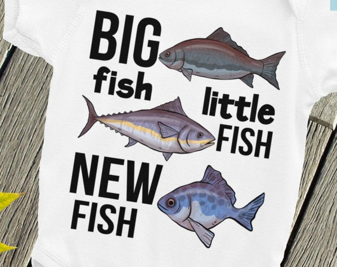 Fishing Baby Nappy - Cute Baby Onepiece - Big Fish Little Fish NEW Fish, Fishing Buddy Baby clothes, Fishing Baby Snapsuit, Fishing Bodysuit