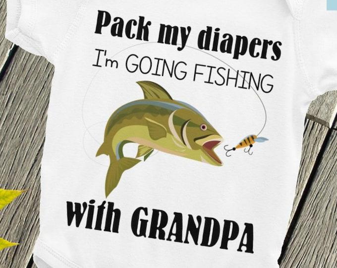 Grandpa's Fishing Buddy Baby Nappy - Baby Onepiece, I'm Going Fishing with Grandpa, Grandpa Nappy,  Fishing Onsie, Fishing Buddy, Fishing