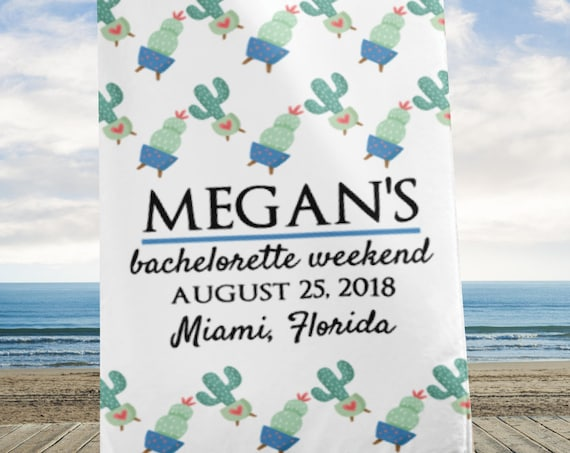 Personalized Bachelorette Weekend Beach Towel, Bachelorette Weekend, Bachelorette Party, Bachelorette Getaway, Bride's Name, Beach Wedding