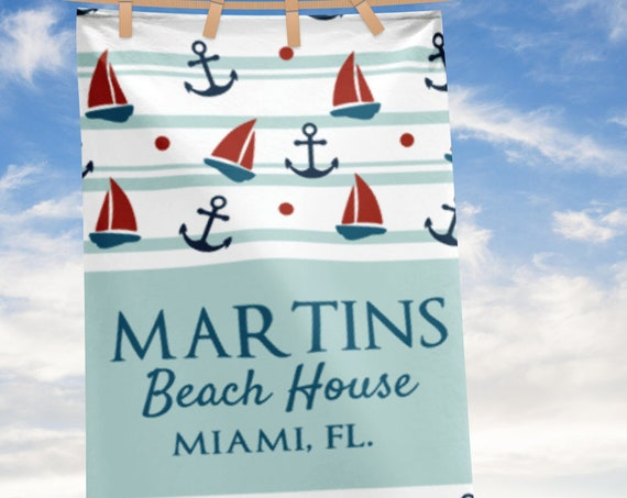 Personalized Large Beach Towel, Nautical Anchor Beach Towels, Custom Name Beach House Bath Towels, Beach house decor, lake house decor