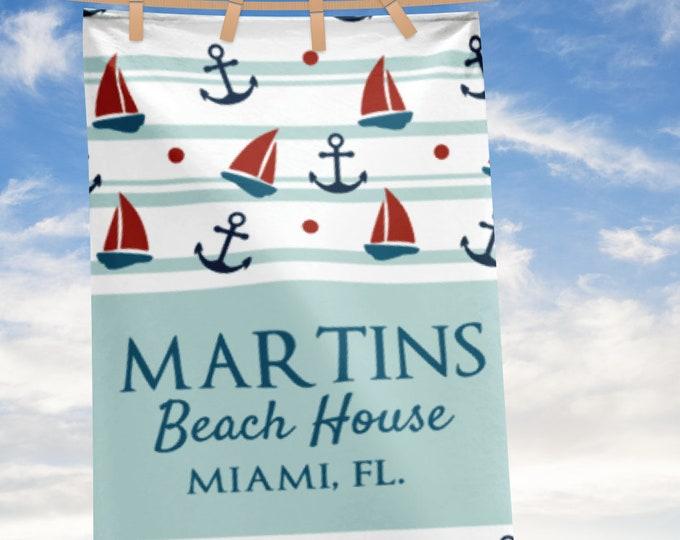 Personalized Large Beach Towel, Nautical Anchor Beach Towels, Custom Name Beach House Bath Towels, Beach house decor, lake house decor