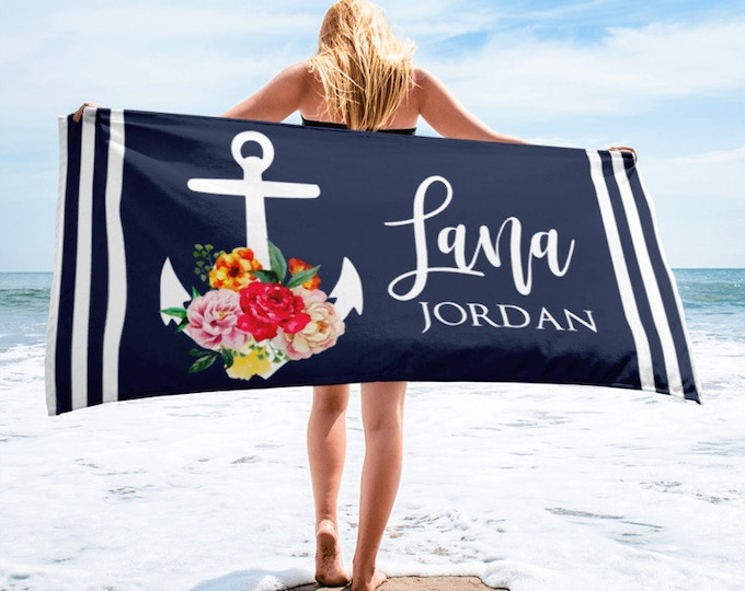 Monogrammed Nautical Anchor Towels, Anchor Monogram Beach Towel, Custom Name Beach Towel, Anchor Name Personalized Nautical Theme Towels