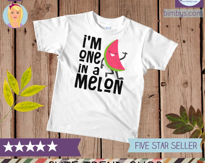 SALEFunny kids shirts, kids graphic tee, One in a melon t-shirt, funny toddler shirt, funny kids shirts, funny kids tee, kids birthday gift