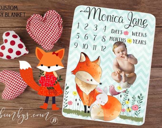 Milestone Baby Blanket Month Growth Tracker Minky Fleece Blanket Custom Personalized Baby Shower Gift Watercolor Fox Baby Shower Gift
