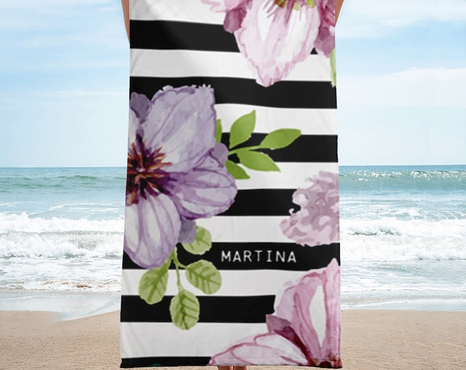 Monogrammed Towels,Personalized Beach Towel,Floral Beach Towels,Custom Name Towels,Elegant Black And White Stripes With Flowers Beach Towel