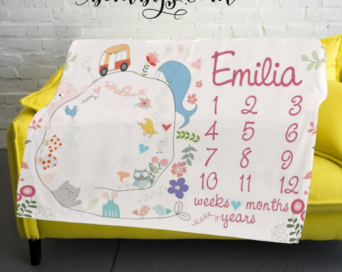 Quirky Milestone Blanket Monthly -Baby Month Floral Milestone Blanket - Monthly Growth Tracker Baby Blanket - Baby Girl Shower Gift