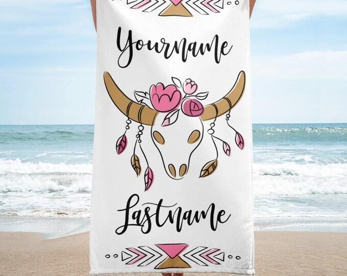 Beach TowelMonogrammed Beach Towel - Boho Custom Pool Towel - Personalized Beach Towel - Bachelorette Beach Towels