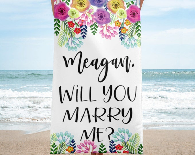 Will You Marry Me Sign Engagement Decorations Beach Towel  Engagement Signs Marriage Proposal Sign Engagement Party Decorations