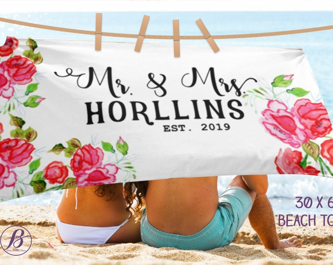 Mr and Mrs Beach Towel, Wedding Towel, Just Married Custom Gift, Bride and Groom, Personalized Wedding beach Towel, Monogram Towels, For Her