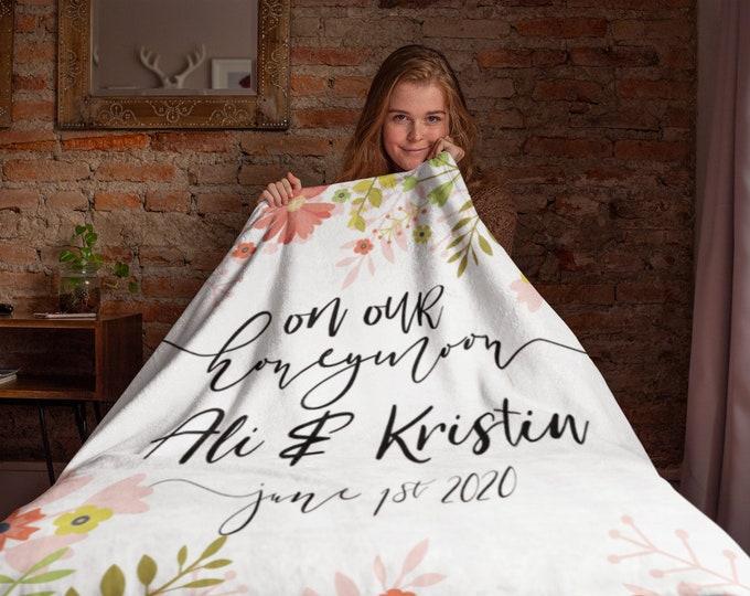 Newlywed Gifts Custom Wedding Gift Blanket, Honeymoon Personalized Wedding Blanket, Bride and Groom Blankets, Personalized Wedding