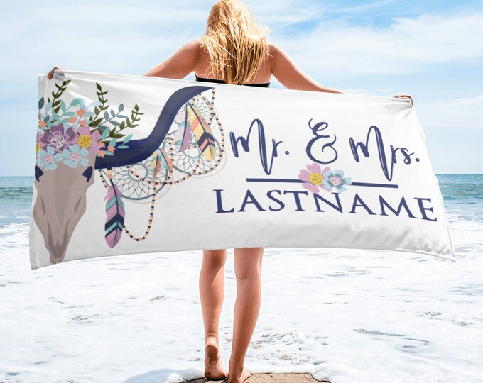 Beach TowelMr and Mrs Personalized Beach Towel, Custom Boho Beach Towel, Floral Beach Towels, Wife Bride Wedding Towels