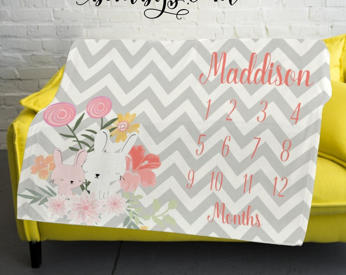 Chevron Milestone Blanket Monthly -Baby Month Floral Milestone Blanket - Monthly Growth Tracker Baby Blanket - Baby Girl Shower Gift