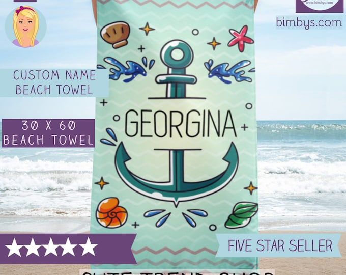 Custom Personalized Beach Towels - Chevron and Anchor Custom Name Beach Towel - Custon Name Towel -  Anchor Beach Towel - Nautical Towels