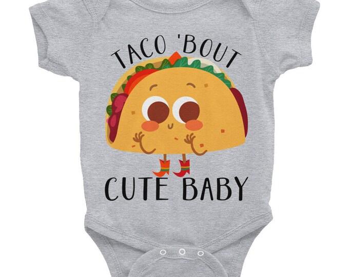 Infant Bodysuit, Taco Onsie, Funny Nappy,Cute Baby Onsies, Taco Bout Cute Onsie, Fiesta Shirt,  Funny Tee, Taco 'Bout Cute Baby Nappy,