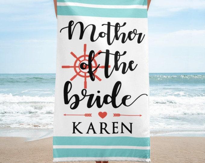 Mother of the Bride of Groom Custom Beach Towel - mother of bride gift - mother of groom gift
