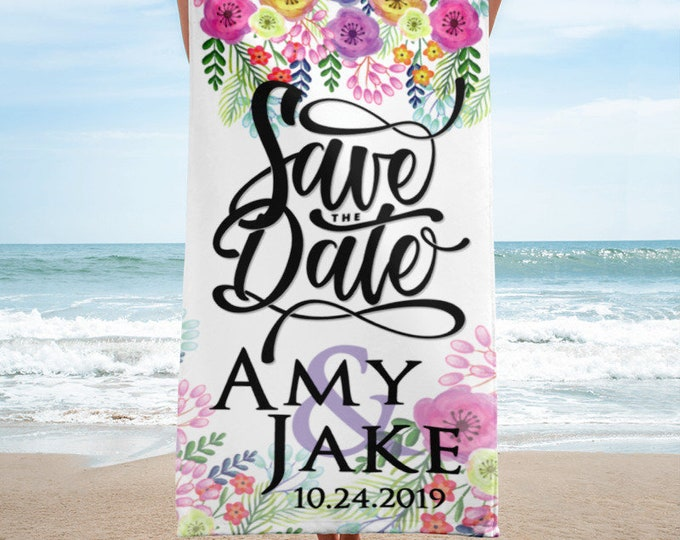 Custom Save the Date Wedding Beach Towel - Bridal Shower Gift | Gift for Bride | Newlywed Gift | Bridal Shower Gifts for Bride