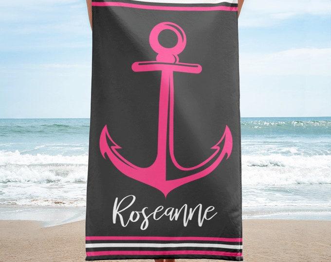 Nautical Bachelorette Party Beach Towel, Custom Beach Towel, Housewarming Gift, Extra Large Microfibre Towel Nautical Stripes Anchor