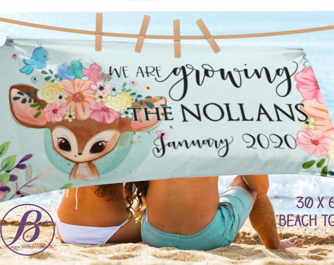 Beach TowelCustom Baby Announcement Sign Photo Props Beach Towel -  Our Family is Growing Custom Beach Towel Blanket for Pregnancy Reveal