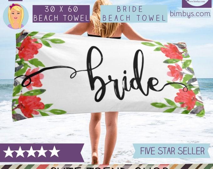 Bridal Shower Gift, Bride Beach Towel, Bride Towel, Bride Wedding Beach Towel,  Beach Bridal Shower Towel, Beach Bride, Beach Bachelorette