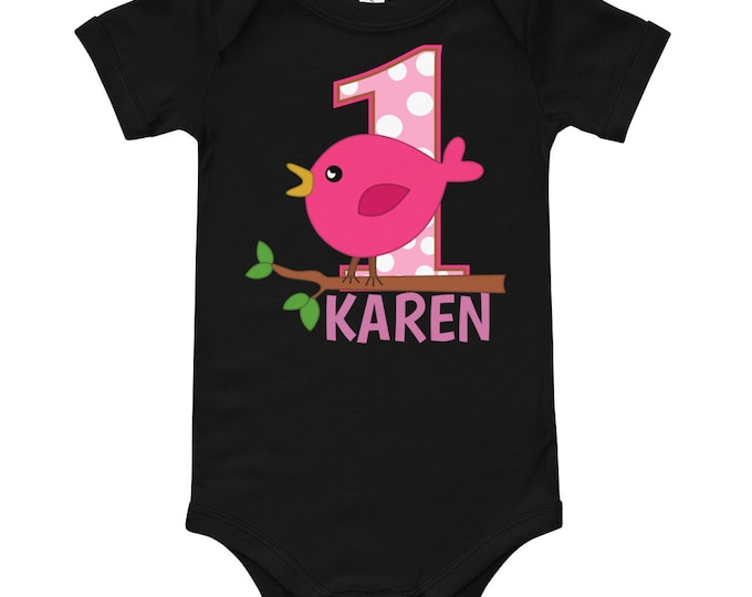 1st Birthday Pink Bird Bodysuit | 1st birthday outfit | birthday outfit | first birthday tee | first birthday shirt | 1st birthday shirt