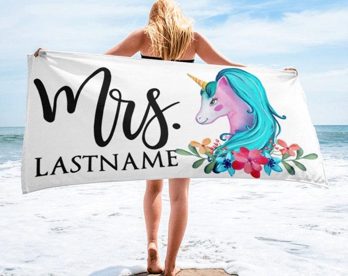 Featured listing image: Mrs Custom Unicorn Beach Towel | Honeymoon Gift | Gift For Honeymoon | Bridal Shower Gift | Bridal Shower Gift | Engagement Gift, Honeymoon