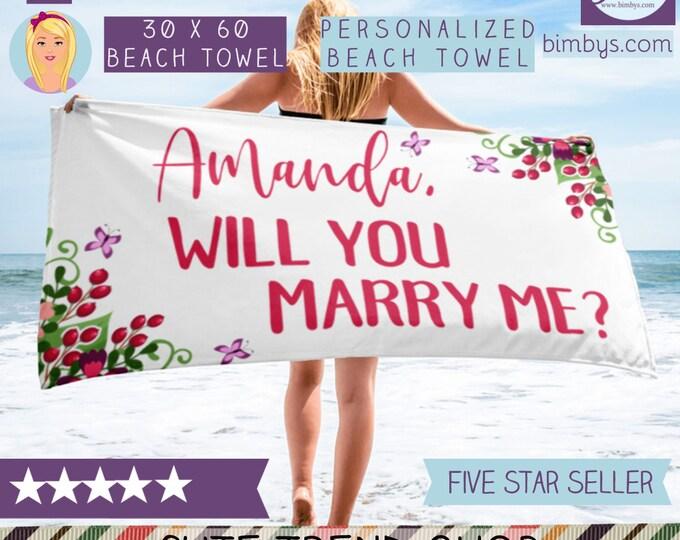 Marriage Proposal Props - Unique Custom Beach Towel - Proposal Beach Towel - Beach Wedding Proposal -  Bride Beach Towel Bride Wedding Beach