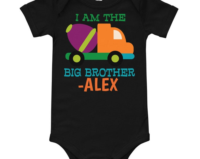 Big Brother Cement Mixer Custom Name Bodysuit | Big Brother Shirt | big brother t shirt | big bro shirt | big brother | announcement shirt