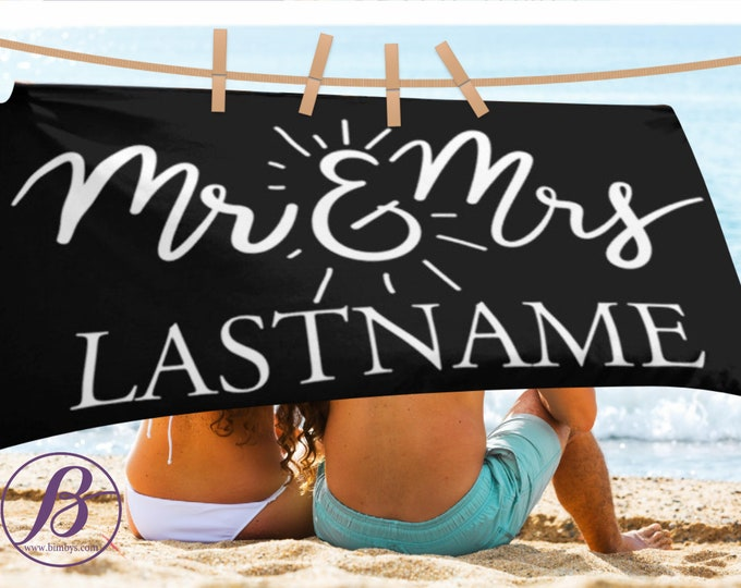 Personalized Wedding Gift | Mr and Mrs Beach Towel | Newlywed Gift | Wedding Gifts | Housewarming Gift | Engagement and Newlywed Gift