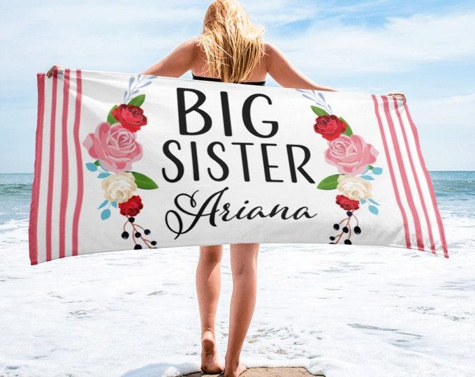 Monogram Big Sister, Big Sister Boho Beach Towel, Personalized Big Sister,  Personalized Big Sister Gift, New baby announcement future big